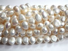 White freshwater potato pearls A grade 9-10mm in diameter 0.8mm hole 14.5 string (approx.43)  Please note: Colours shown in the pictures are a close