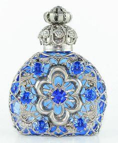 Perfume Bottle Rare Vintage Silver Tone Filigree Blue Glass Blue Faceted Stone