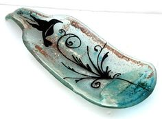 fused glass Curved painted  Wine Bottle Serving by virtulyglass, $35.00