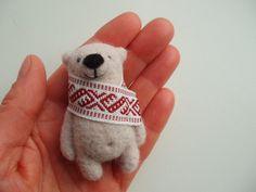Light Bear Brooch Needle felted bear felted brooch by MishaShop