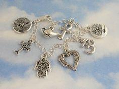 Coexist Charm Bracelet- Silver angel wings om tree of life cross ankh