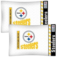 NFL Pittsburgh Steelers Football Set of Two Pillowcases by NFL. $21.99. Genuine licensed merchandise.. Super-soft microfiber!. Machine washable. Two NFL Pittsburgh Steelers standard pillowcases.. Standard pillowcases. Go with any size bed!. Two NFL Pittsburgh Steelers logo standard pillowcases, finished size 20 x 30 inches (51 x 76 cm).