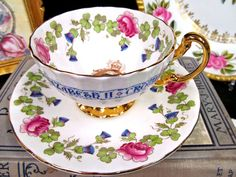 AYNSLEY TEA CUP AND SAUCER THISTLE ROSE TEACUP QUEEN FOOTED OBAN TEACUP SET | Antiques, Decorative Arts, Ceramics & Porcelain | eBay!