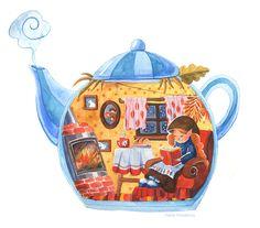 Сообщество иллюстраторов   Иллюстрация Домик в чайничке. Poluektova Tea Illustration, Watercolor Illustration, Watercolor Art, Art Drawings For Kids, Drawing For Kids, Book And Coffee, Cute Cartoon Wallpapers, Tea Art, Whimsical Art