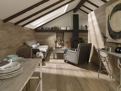 Interior Design Magazine: Ascot Roble wood flooring by Porcelanosa USA Faux Wood Tiles, Wood Look Tile, Grey Floor Tiles, Grey Flooring, Floors, Flooring Ideas, Home And Living, Living Room, Room Tiles
