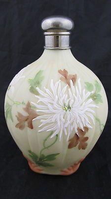 C1890 MT Washington ART Glass Crown Milano Perfume Bottle Chrysanthemums | eBay
