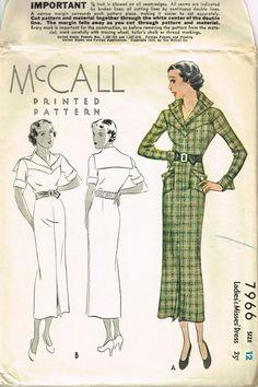 VINTAGE 1930s McCall BELTED DRESS Pattern 7966 by fadedrosevintage