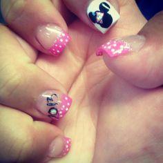 Pink Disney nails I love the pink polka dots