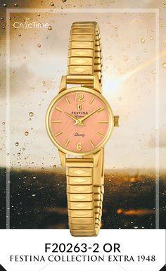 La montre Festina F20263-2 Or pour femme, est une réédition de la collection extra de 1948. Tendance et moderne alors que cette montre reprend son design de la première édition, Festina réussi son pari et nous fait (re-)découvrir ses plus grandes réussites.