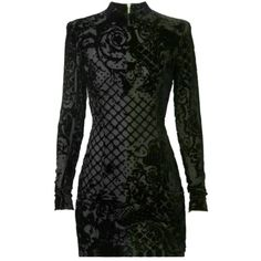 Pre-owned Balmain X H&m Dress Black Velvet Burnout Mini Size 4 (400 AUD) ❤ liked on Polyvore featuring dresses, none, zipper mini skirt, zipper mini dress, short mini dress, balmain dress and short skirts
