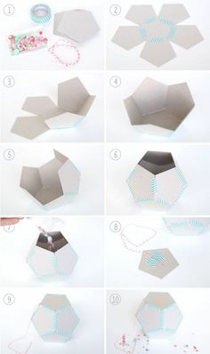 ▷ ideas on how to make a cool pinata - Making a geometric figure out of cardboard, washi tape, sweets - Concrete Crafts, Concrete Projects, Diy Projects, Cement Art, Concrete Art, Cement Planters, Lampe Art Deco, Mini Pinatas, Diy And Crafts