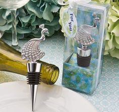 These beautiful Peacock Bottle Stopper Favors will be appreciated by all of the wine lovers at your event!