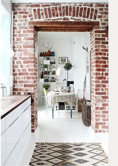 Nice 88 Stylish Kitchens Ideas with Brick Walls and Ceilings. More at http://www.88homedecor.com/2017/12/31/88-stylish-kitchens-ideas-brick-walls-ceilings/