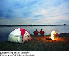 Sunset in camp on Lake Sakakawea North Dakota, The Great Outdoors, Outdoor Gear, Tent, Camping, Sunset, Travel, Happy, Blog