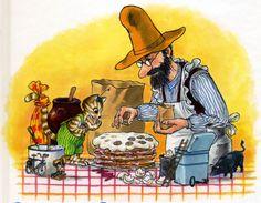 Pettson and Findus: birthday cake Cute Cartoon, Cartoon Art, Cartoon Characters, Aarhus, Trolls, Candy Art, Nordic Art, Cat Colors, Photo Postcards