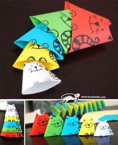 Поделки: Кошки матрешки из бумаги