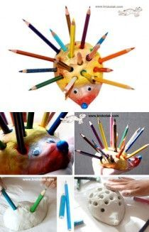 Air dry clay hedgehog pencil holder