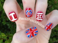 G theses nails are I want it!*I wish I could make beautiful One Direction nails like that!:)I really love the colors that fit right with the logo and the British flag! Cute Nails, Pretty Nails, Hair And Nails, My Nails, Band Nails, One Direction Nails, Nails Gelish, Cute Nail Designs, Gorgeous Nails