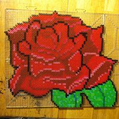 Rose flower  perler bead art by bmachado13