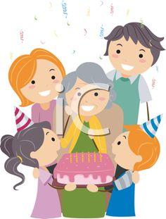 Illustration of a Grandmother Celebrating Her Birthday