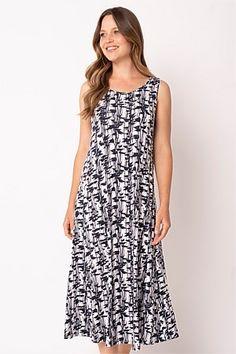 Shop Women's Dresses Online   Blue Illusion Linen Dresses, Women's Dresses, Dresses Online, Summer Dresses, Long Midi Dress, Travel Wardrobe, Fit Flare Dress, Illusion, Tropical
