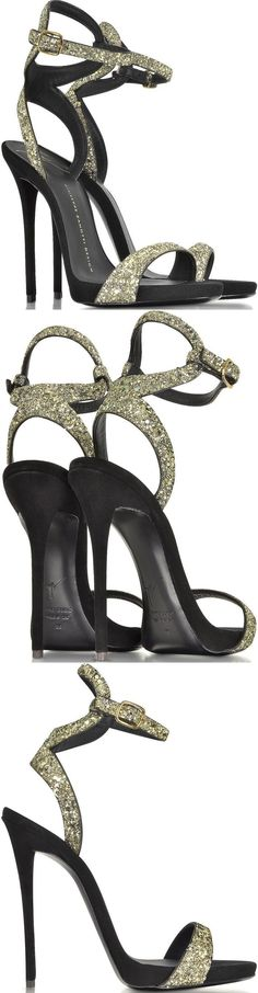 These 'Gwyneth' shoes from Giuseppe Zanotti come in lustrous black suede with a contrasting gold glitter finish. They also have an open-toe silhouette, buckle-fastening ankle straps, internal platforms and 120mm heels. #giuseppezanottiheelsgold #giuseppezanottiheelsblack
