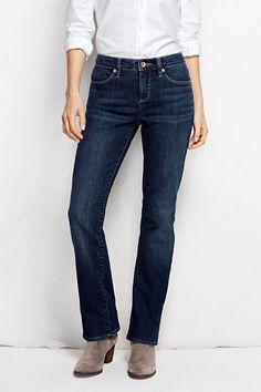 Women's Fit 2 Mid Rise Boot Cut Jeans - Medium Indigo Wash from Lands' End