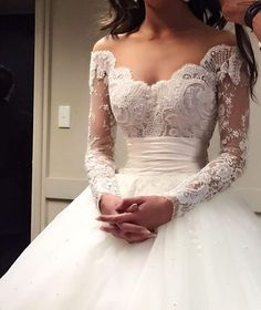 Elegantly unique off-the-shoulder embroidered long-sleeve wedding dress with empire waistline; Featured Dress: Steven Khalil - I'm absolutely in LOVE with this dream dress ❤️️ Dream Wedding Dresses, Bridal Dresses, Poofy Wedding Dress, Unique Wedding Dress, Empire Waist Dress Wedding, Disney Wedding Dresses, Princess Wedding Dresses, Wedding Dress Styles, Couture Dresses