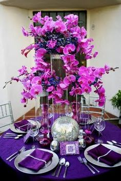 Orchids Tablescape Centerpiece www.tablescapesbydesign.com https://www.facebook.com/pages/Tablescapes-By-Design/129811416695