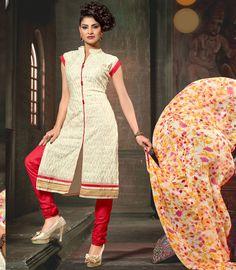 Beige Chanderi Silk Kameez With Churidar 59808