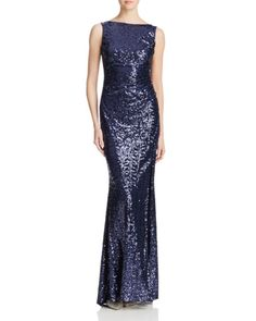 Badgley Mischka Ruched Sequin Gown