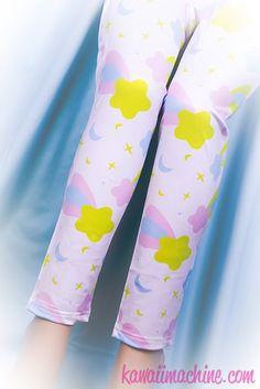 Starfall Printed Leggings (Stars, Moons, Sparkles)  Fairy Kei Pastel Goth Kawaii by thekawaiimachine on Etsy https://www.etsy.com/listing/205856566/starfall-printed-leggings-stars-moons