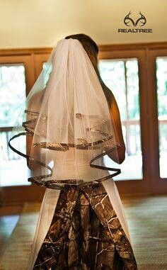 Add a little camo to the traditional white dress :) love it