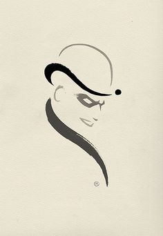 A Rogues Gallery of Ink Doodles /// The Riddler /// by Olly Moss