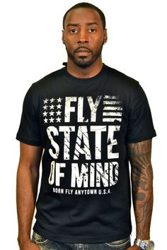"""BORN FLY """"FLY STATE OF MIND"""" BLACK TEE"""