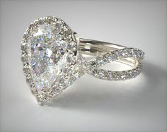 14K White Gold Elevated Pave Halo Engagement Ring with Diamond Encrusted Band
