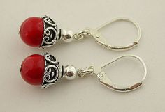 Red coral lever back sterling silver earrings 14 by 57north, $16.99
