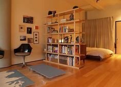 Studio Apartment? Use a bookshelf featuring interesting gadgets and useful tools to divide public vs private spaces!