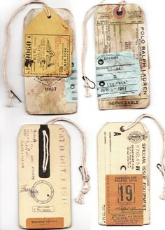 Love these old travel tags - can see these made into beer glasses half full/half empty & put onto a guys birthday gift. Maybe a glass mug filled with goodies!!!