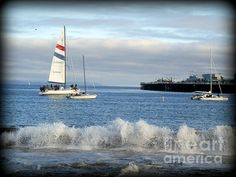 Sailing on Monterey Bay in California.  Photo for sale on Fine Art America.