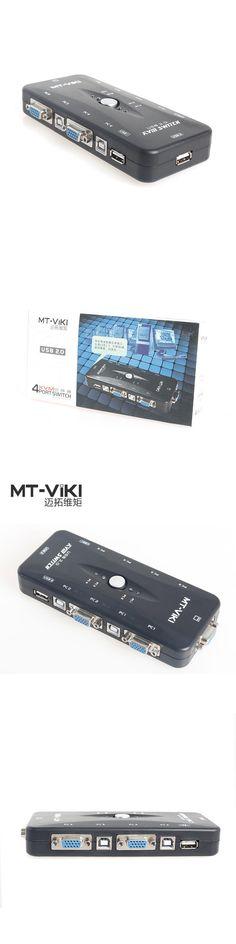 MT-VIKI 4 Port VGA USB KVM Switch Manual Button Press Classic Model 1 Set Keyboard Mouse Control 4 PCs with Original Cable 401UK