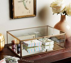 Callie Glass Desk Boxes | Pottery Barn | purchased, thanks to my love, @jamiecureton
