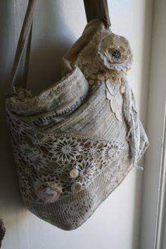 Så läcker shabby chic lättsydd väska - inget mönster men inspiration!