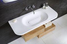Lana three hole wall-mounted basin mixer and the beautiful geo free flow basin Bathroom Kids, Bathroom Inspo, Bathroom Storage, Wooden Bathroom, Contemporary Bathroom Furniture, Contemporary Bathroom Designs, Grey Bathrooms Designs, Modern Sink, Furniture Decor