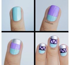 Pastel lavender, mint and silver Aztec nail art