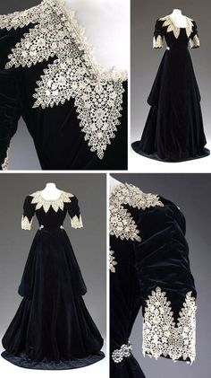 """Dinner gown, Redfern, London,  circa 1909. Black silk velvet trimmed with chemical lace in the Van Dyck  manner. Long self-fabric flounces run the length of the skirt. Slight  train. Victoria & Albert Museum: """"The higher neckline and longer  ruched sleeves distinguish this from sleeveless low-cut ball gowns. The  intentionally historical appearance of the gown suggests it may have  been made for fancy dress."""