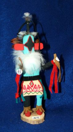 """The chasing star Kachina is sometimes also known as the Planet or Meteor Kachina.  This kachina represents the spirit of the stars and planets. This 8"""" tall kachina doll is just 24.95 w/ free shipping! #kachina #kachinadoll #nativeamerican #navajo"""