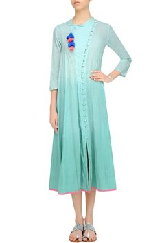 Old green ombre dyed calf length chi dress available only at Pernia's Pop Up Shop.