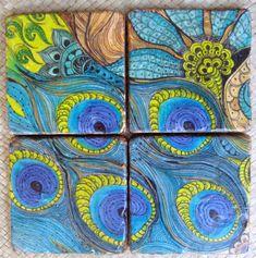 peacock - hand painted coasters by @Devika Kumar Kumar Kumar Keskar #SFETSYSPLASH40 June 3