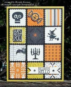 hand crafted Halloween card ... quilt block/grid look uses the Postage Stamp Punch with themed papers and stamps .... from www.keenankreations.com